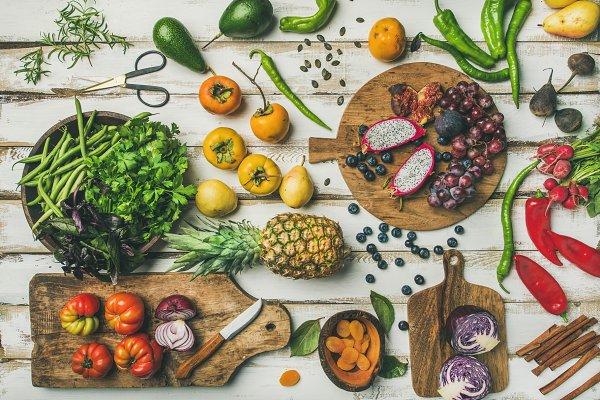 Helathy vegan food cooking backgrou…