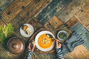 Fall warming pumpkin cream soup, copy space, top view