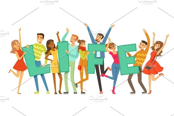 Group Of Smiling People Holding The Word Life Cartoon Colorful Vector Illustration