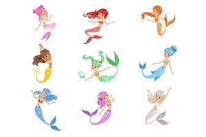 Cute fairy tale mermaid princess with colorful hair and taill set of vector Illustrations