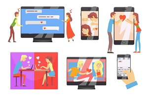 Acquaintance through the social network, distance relationship, online dating set of vector Illustrations