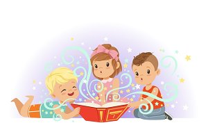 Adorable little boys and girls sitting and reading fairy tales set. Kids fabulous imagination vector illustrations