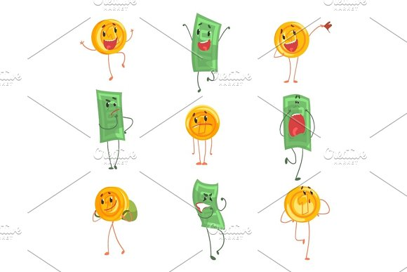 Cute Funny Humanized Banknotes And Coins Showing Different Emotions Set Of Colorful Characters Vector Illustrations