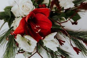 Flower Bouquet, Red & White