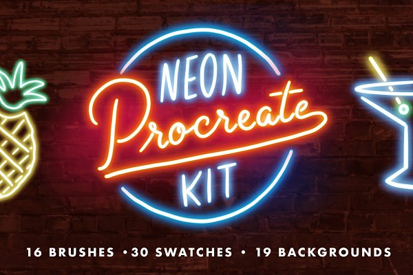Neon Procreate Brush Kit