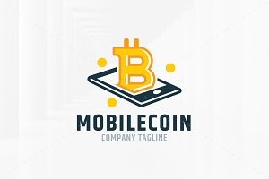 Mobile Bitcoin Logo Template