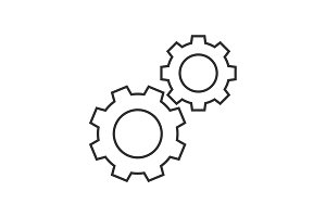 Cogwheels outline icon