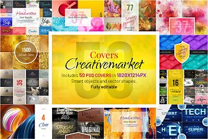 CreativeMarket Covers Mockup. 50 PSD