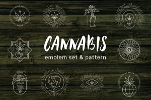Cannabis emblem set & pattern