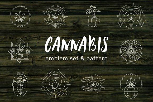 Cannabis Emblem Set Pattern