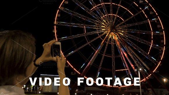 Ferris Wheel At Night In The City Batumi Georgia