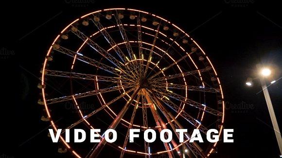 Ferris wheel at night in the city Batumi, Georgia