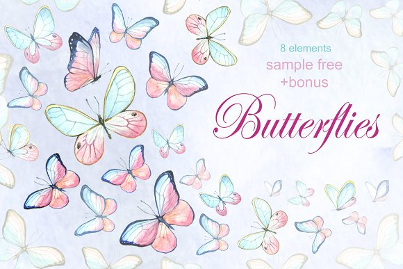 Watercolor collection of butterflies