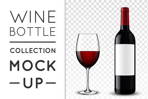 Wine bottle. Mock-up set.