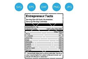 Entrepreneur Facts Nutrition SVG