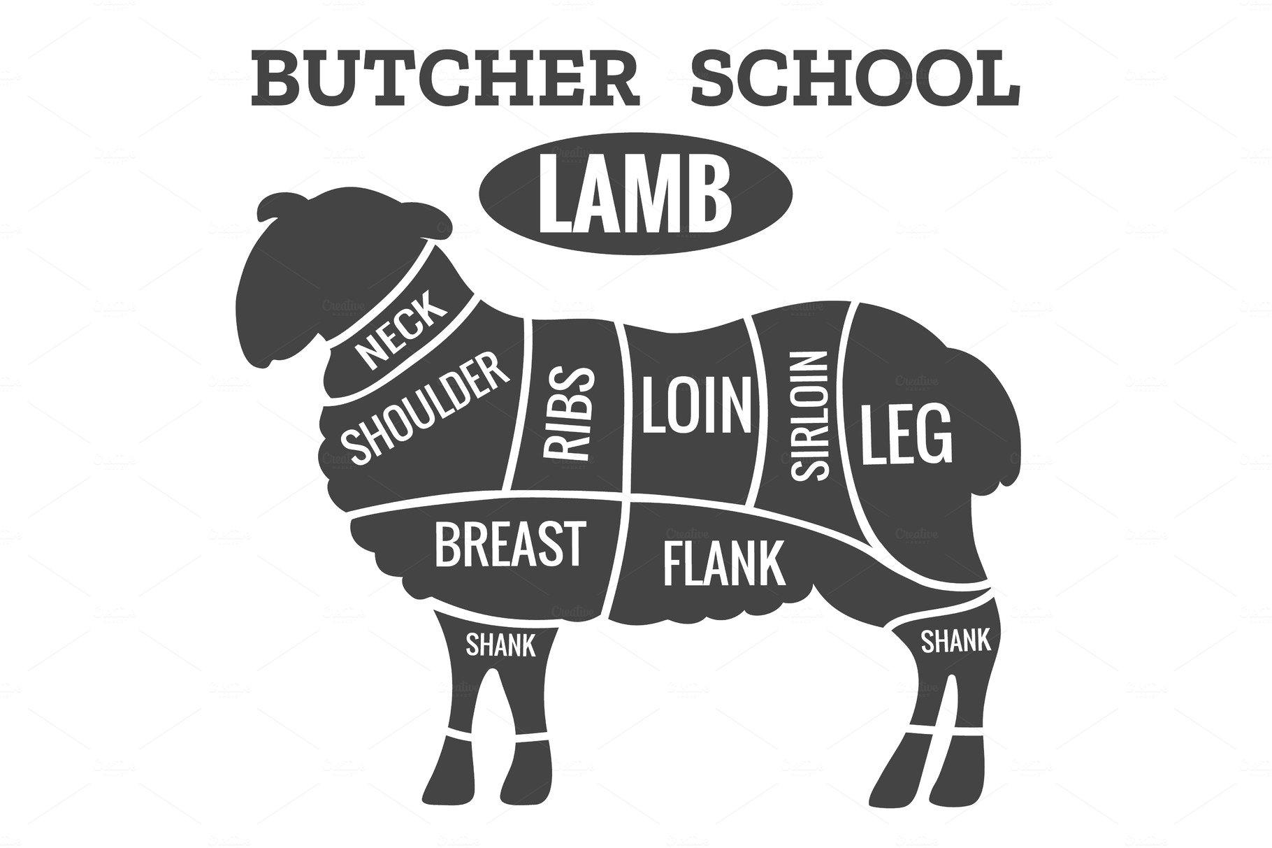 Cut of meat set, chalkboard. Lamb ~ Illustrations ~ Creative Market