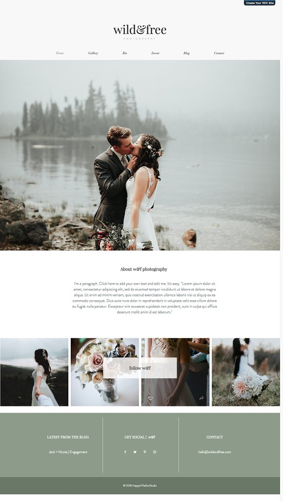 Dorable Wedding Photography Website Template Gallery Examples - Wedding photography website templates