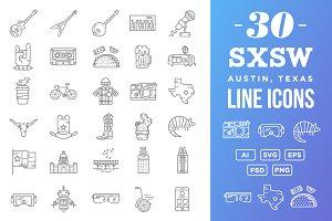 30 SXSW Austin Texas Flat Line Icons