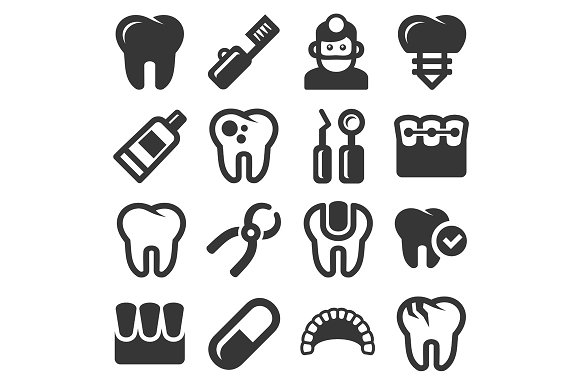 Dental Icons Set in Graphics