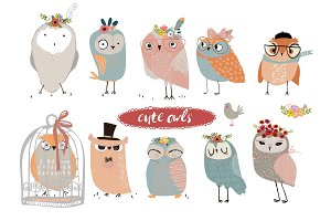 set with cute owls