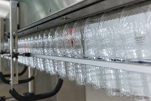 Plastic bottles on the conveyor