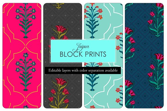 Indian Block Print Set Of 4