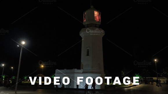 Lighthouse At Night In The City Batumi Georgia