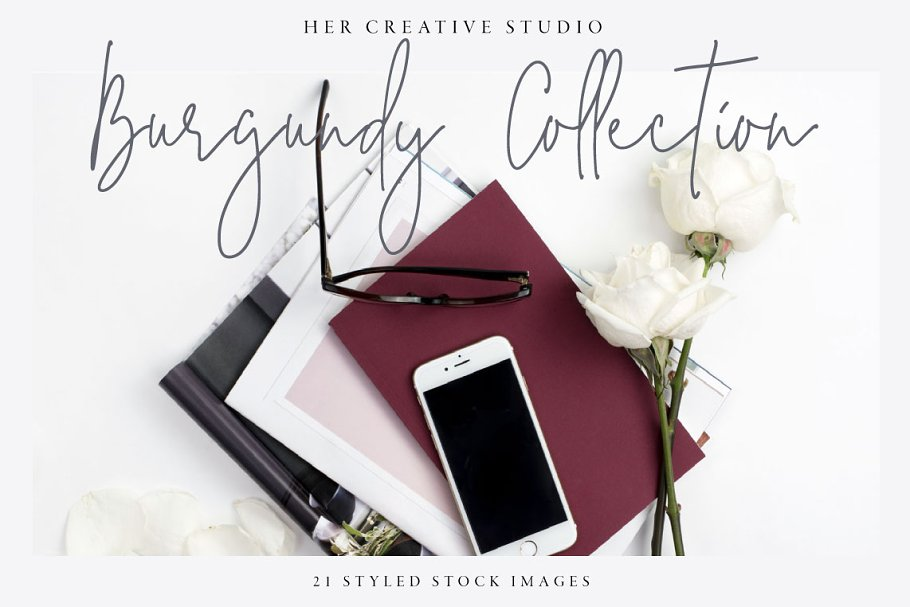 Burgundy Styled Stock Bundle in Templates