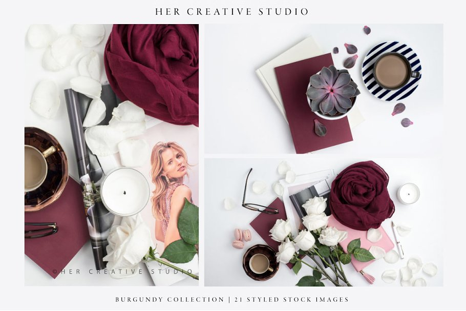 Burgundy Styled Stock Bundle in Templates - product preview 3