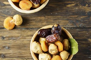 dried figs, apricots and dates