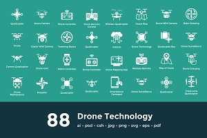 88 Drone Technology Vector Icons