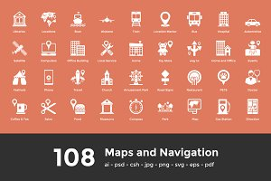 108 Maps and Navigation Icons