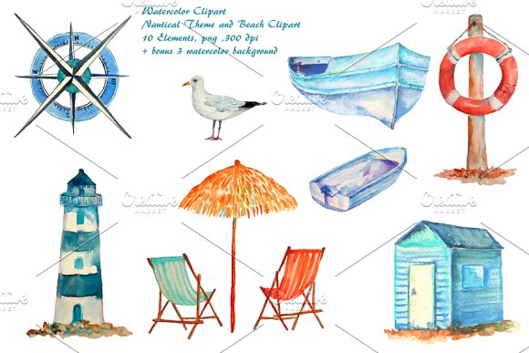 Watercolor beach. Nautical clipart