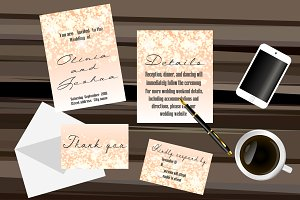Bokeh lights Wedding invitation set