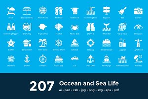 207 Occean and Sea Life Icons