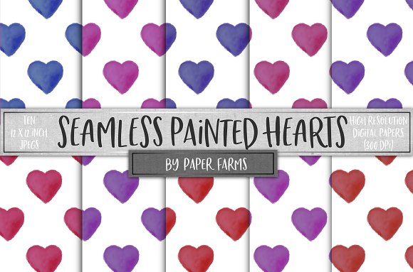 Seamless Painted Hearts Patterns