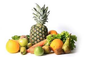 fresh fruits and vegetables for a healthy diet isolated on white background set for smoothies