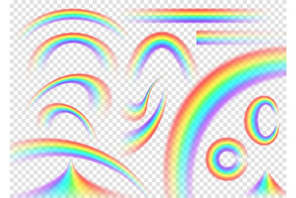Rainbow set isolated on transparent background. Realistic rain arch