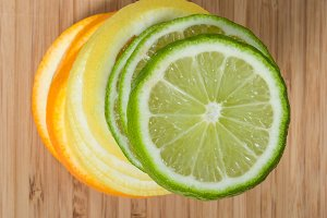 Stack of lime, lemon and orange