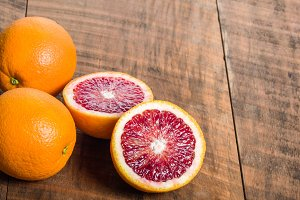 Blood oranges on table