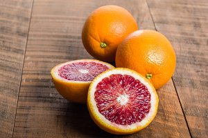 Blood oranges cut in half