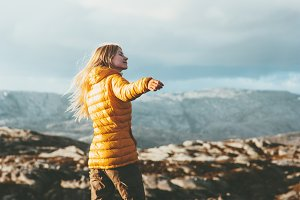 Young Woman enjoying mountains view