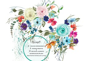 Watercolor Pastel Roses Clipart