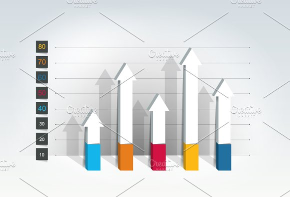 Chart, graph, 3D style. Infographics