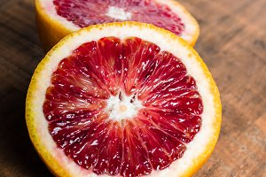 Halved blood orange citrus