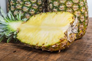 Pineapples with half cut