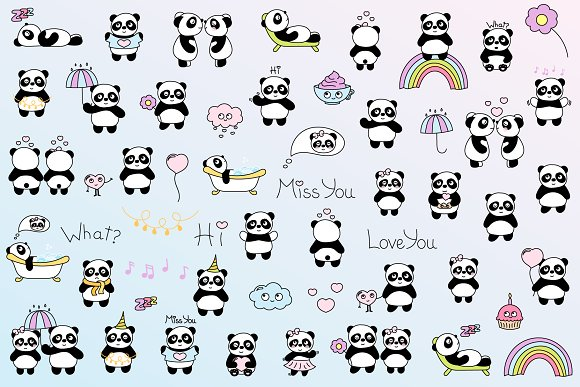 Cute Panda in Illustrations - product preview 1