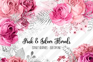 Pink and Silver Floral Clipart