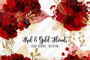 Red and Gold Floral Clipart