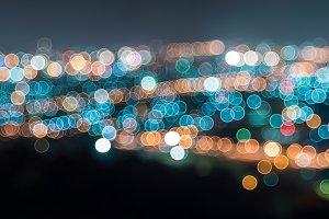 Panorama bokeh of city at night